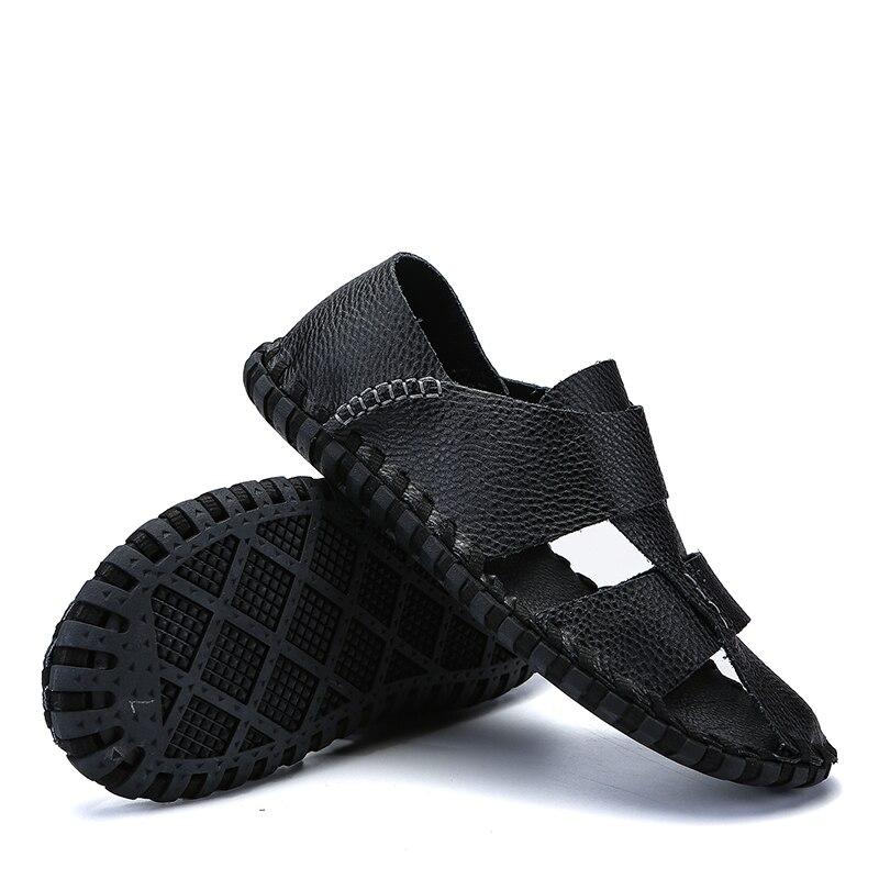Negócios De branco Yoylap Retro Sapatos Homens Pescador Respirável marrom Couro Verão Genuínos Gladiador Sandálias Fretwork Estilo Preto aaqOfwEv