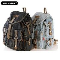 NEW 2014 Vintage Preppy Style Fashion Women Girls Retro Jeans Backpack School Travel Sling Drawstring Denim