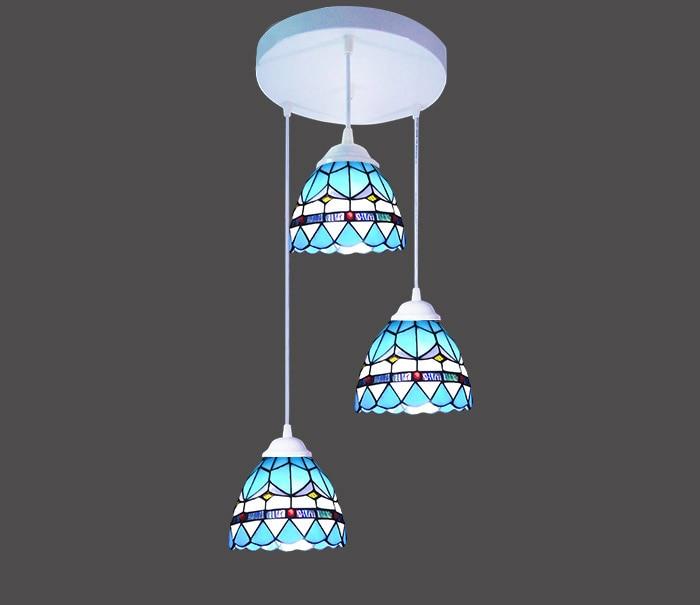 Akdeniz LED Yuvarlak Demir Cam Kolye Işık Süspansiyon Armatür - İç Mekan Aydınlatma - Fotoğraf 1