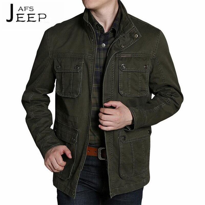 JI PU 100% Pur Coton Homme de Collier de Stand Solide Casual Cardigan Veste, Élargir Homme Militar de Poches Cargo longues Outwears mâle