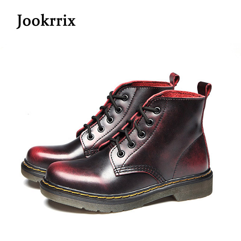 Jookrrix New Autumn Fashion Women Genuine Leather Boots Martin Boots Motorcycle Retro Lady Shoes High Quality Booties Soft Sole whensinger 2017 new women fashion boots genuine leather fashion shoes rubber sole hands sewing 2 color 7126