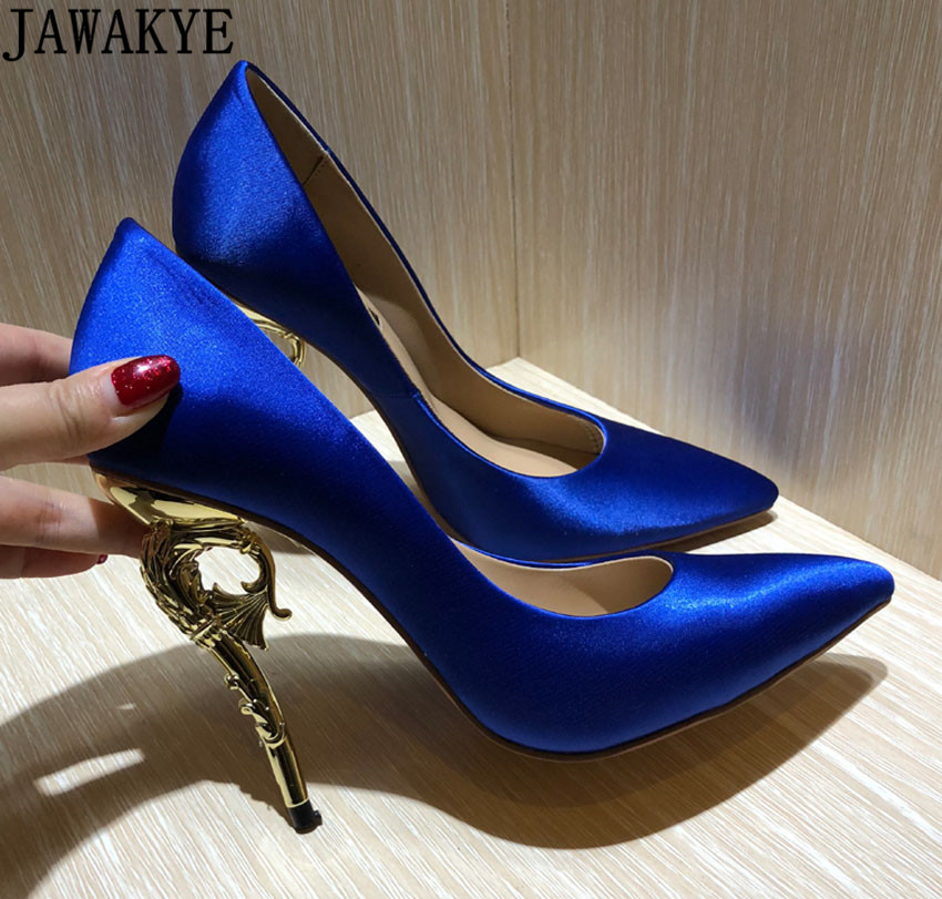 Spring shallow dress pumps pointed toe solid silk satin goldfish metal high heels stilettos bridal wedding