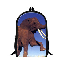 2015 New Design Children School Backpacks 3D Elephant Animal Print School Bags Mens Shoulder Outdoor Travel