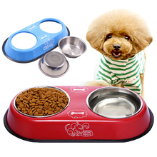 ФОТО pet cat dog bowl stainless steel bowl double basin water storage food and pet feed dog cat feeding basin