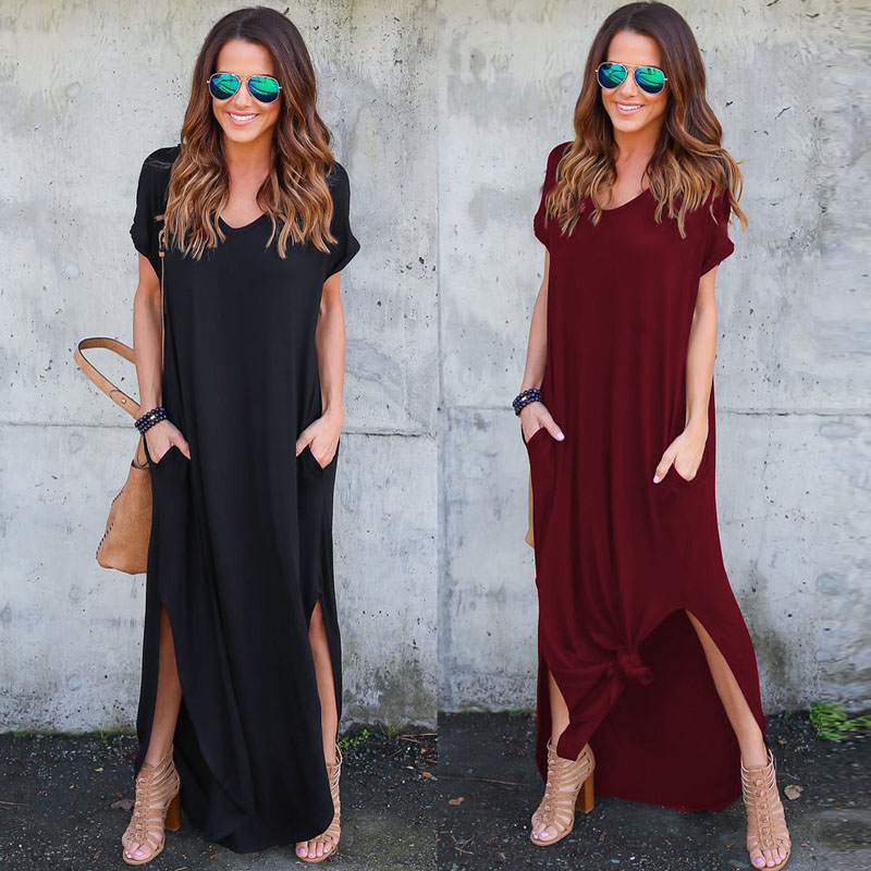 Long Dress 2018 Hot Sale Women Casual V Neck Short Sleeve Pockets Beach Dresses Summer Split Dress Black Red White Blue Green
