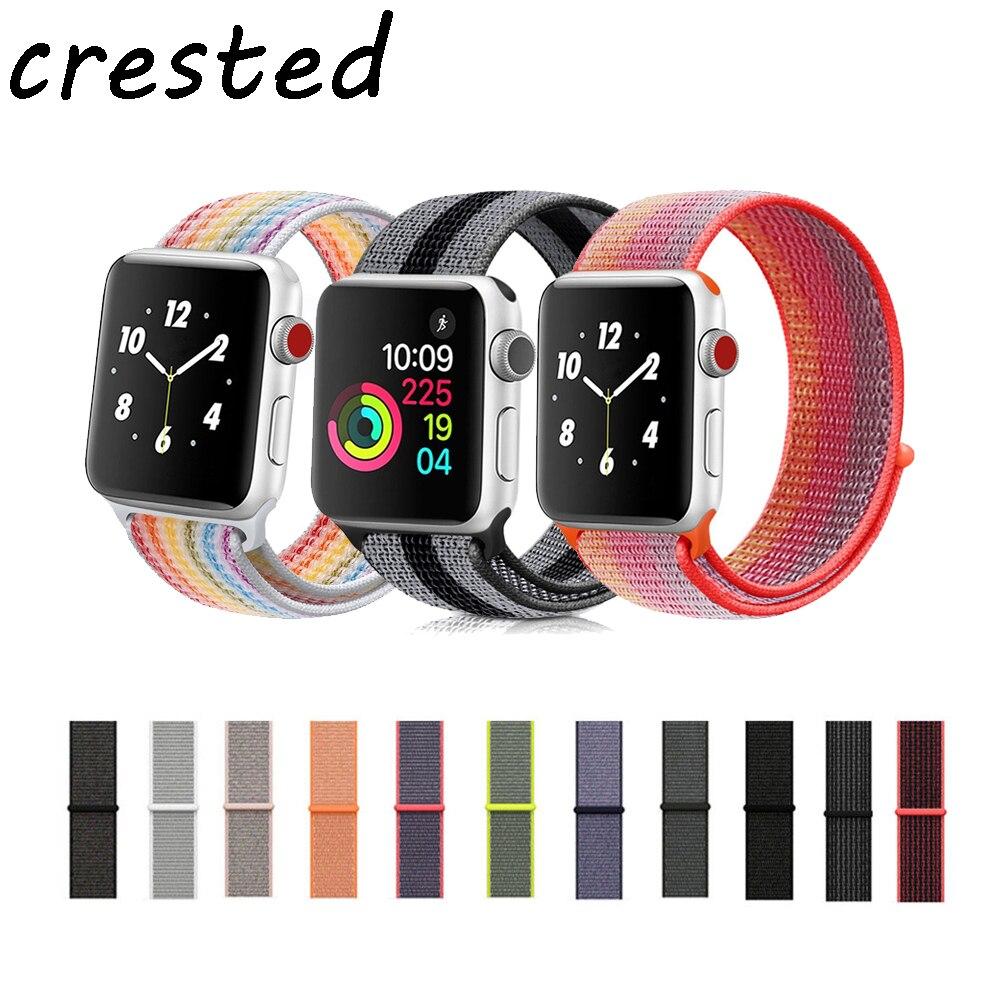 Sport schleife band strap für apple watch 3/2/1 iwatch 42mm 38mm handgelenk armband gürtel Woven Nylon armband + einstellbare haken verschluss