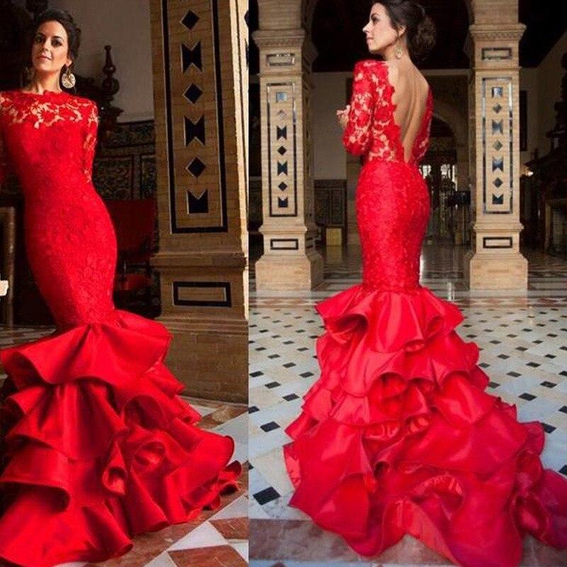 2016 Sex Mermaid Ruffles Evening Gowns Vestidos de Gala Red Lace ...