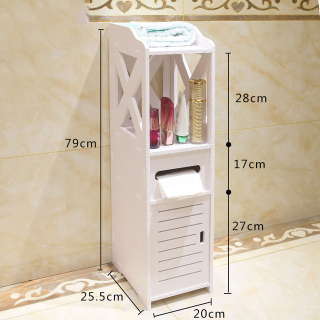 Simple Bathroom Vanity Floor Standing Storage Cabinet Washbasin Shower Corner Shelf Plants Sundries Rack
