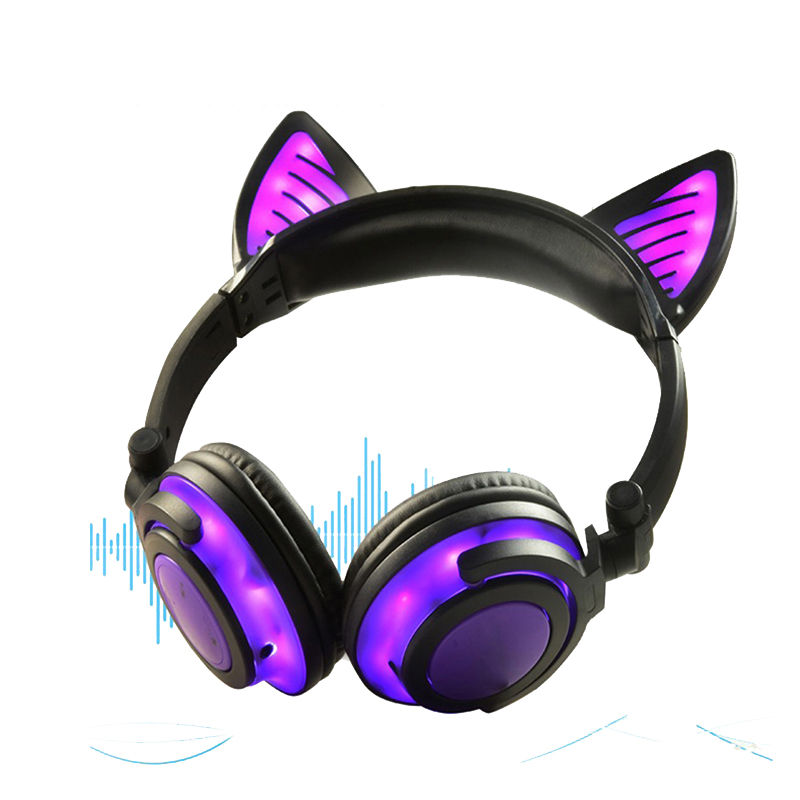 Cute LED Light Cat Ear Earphone Bluetooth Headphone Wireless Headphones With Microphone Flashing Glowing Headset For PC Girls