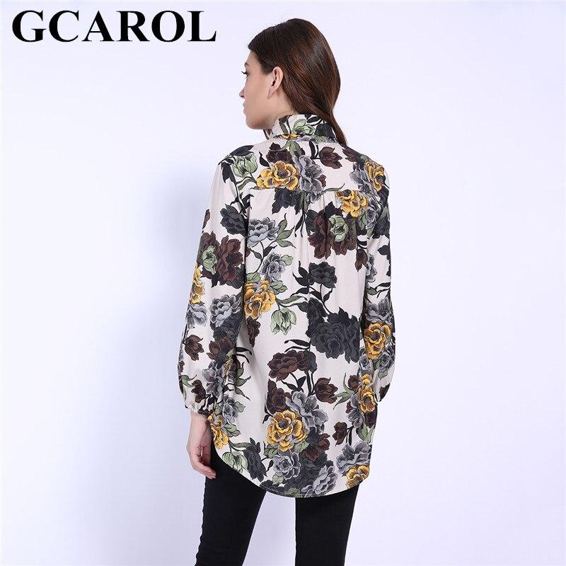 GCAROL 2019 Early Spring Bowknot Women Big Floral Long Blouse Elastic Cuff Fashion Elegant OL Work Shirt Asymmetric Tops 5