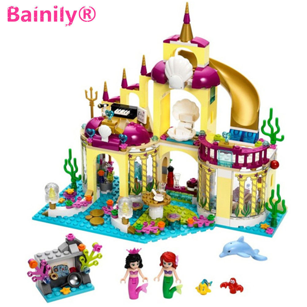 [Bainily]383pcs New Princess Undersea Palace Girl Building Blocks Bricks Toys For Children Compatible With LegoINGly Friends new undersea palace building blocks set 400pcs bricks toys for girls compatible with lego princess toys block girls toy gift