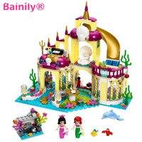 Bainily 383pcs New Princess Undersea Palace Girl Friends Building Blocks Bricks Toys For Children Compatible