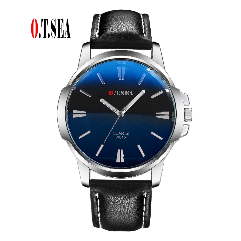 Fashion O.T.SEA Brand Faux Leather Blue Ray Glass Watch Men Military Sports Quartz Wrist Watches Relogio Masculino W045 luxury brand men watches 2016fashion faux leather men blue ray glass quartzwatches casual males business watch relogio masculino