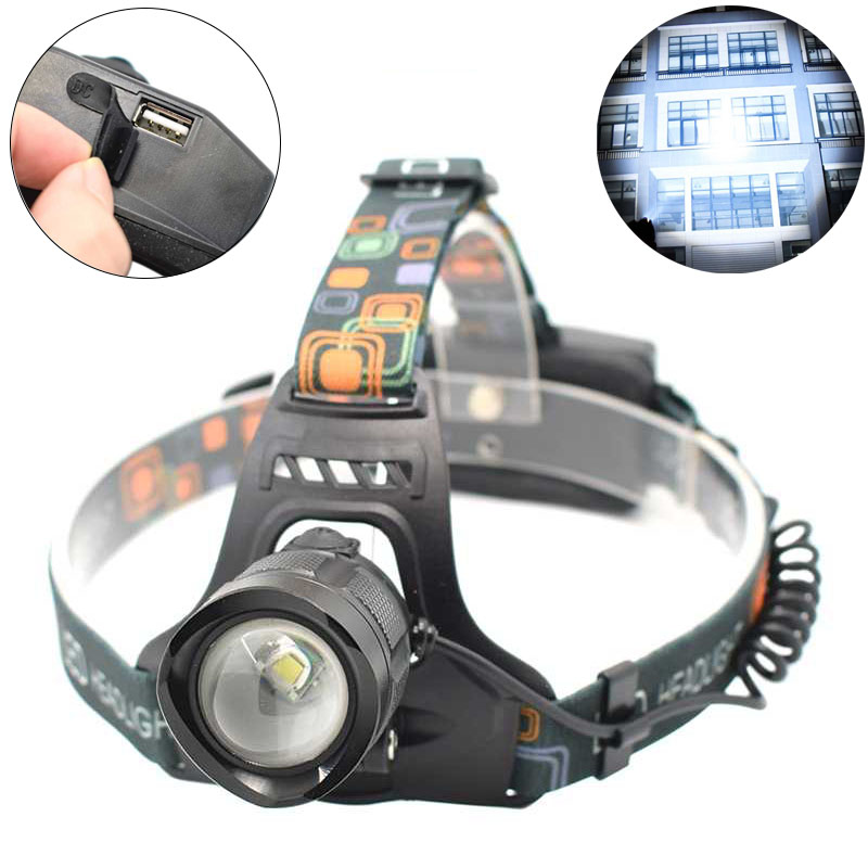 Powerful LED Headlamp Zoomable T6 Headlight Adjustable Head Flashlight Forehead Torch Running Bike Light Lampe Frontale 18650 imalent hr70 led headlamp 18650 led headlight head lamp head torch led flashlight lampe frontale tres puissante usb magnetically