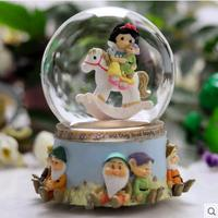 Snow White and the seven dwarfs rotating crystal ball music box