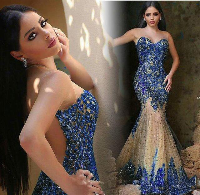 ca79a1ec63 New Listing Blue Sequined Sweetheart Mermaid Evening Dress Long 2016 Floor  Length Tulle Vestido de festa Formal Dresses Gowns-in Evening Dresses from  ...