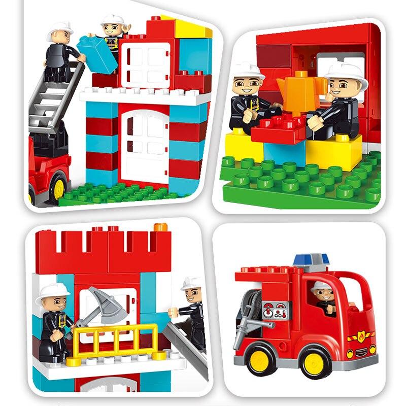 GETLUCK 1009 Big Blocks City Fire Department Firemen Building Blocks Det Kids DIY Bricks Toys Compatible Duploe For Baby Gifts-in Blocks from Toys & Hobbies    2