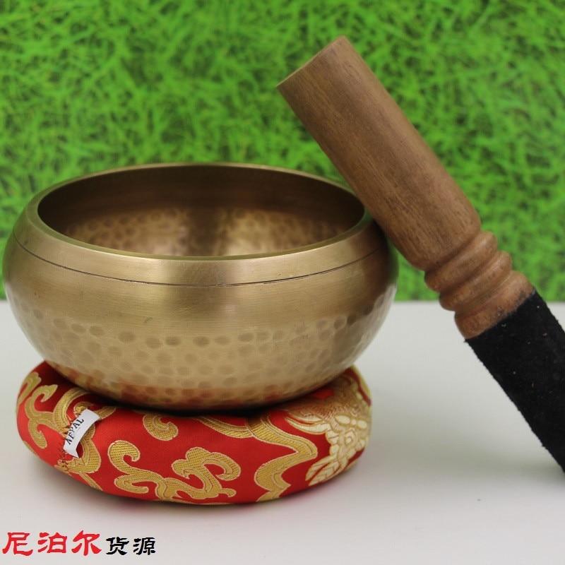 8cm Copper Buddha Sound Bowl Alms Bowl Yoga Chinese Tibetan Meditation Singing Bowl With Hand Stick Metal Crafts GPD8121