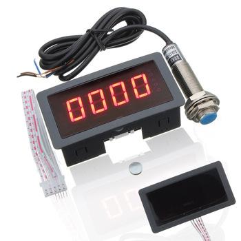 Czerwona dioda LED 4 cyfrowy obrotomierz obr min prędkościomierz + czujnik zbliżeniowy NPN przyrządy pomiarowe tanie i dobre opinie ZEAST 128909