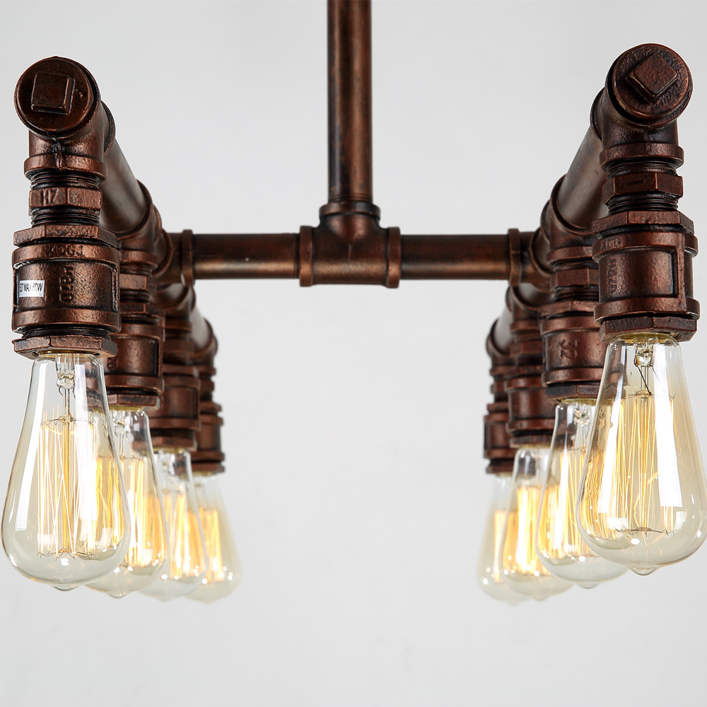 Industrial Large Pendant Lights Wrought Iron Pipe Lighting Bar Hotel Kitchen  Island Brown Light Antique Pendant Ceiling Lamp In Pendant Lights From  Lights ...