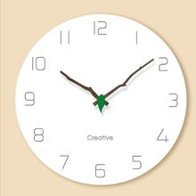 Wall clock Minimalist quartz watch Solid wood pointer color Glass Clocks Home Decoration Living Room Silent 12 inch