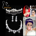 Fashion Tiara Silver Plated Crystal Choker Necklaces Earrings Crown Rhinestone Bridal Jewelry Sets For Wedding   ABC