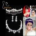 Moda choker colares brincos de cristal coroa tiara tiara de prata banhado strass conjuntos de jóias de noiva para casamento abc