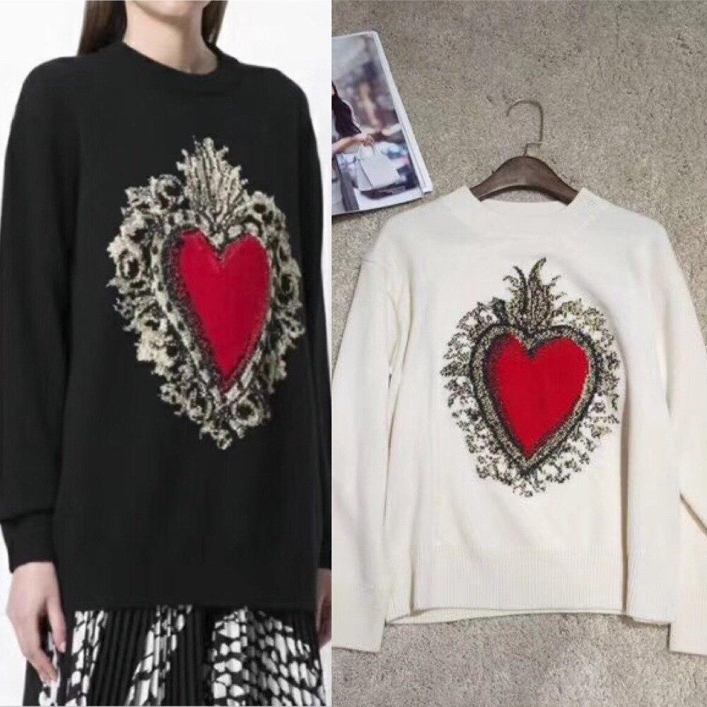 Mode Black Hiver En Femmes white Vêtements Feminino Casual Longue Coeur Noir Cachemire Tricoté Broderie Blanc Top Chandail Pull 2018 Automne 65qU7wxnIf