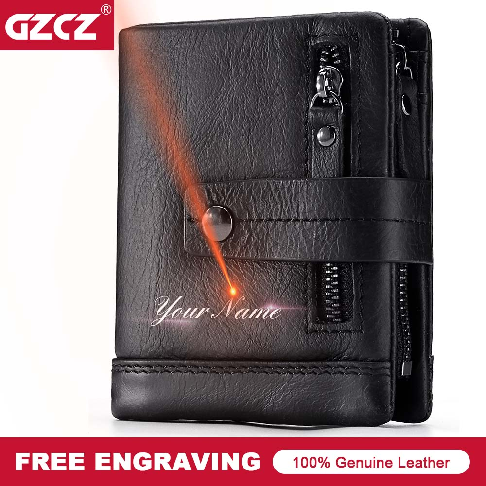 GZCZ Men Zipper Short Clutch Wallet Genuine Leather Fashion Small Male Purse Short Vintage Portomonee Rfid Mini PORTFOLIO Vallet gzcz genuine leather wallet men zipper design bifold short male clutch with card holder mini coin purse crazy horse portfolio