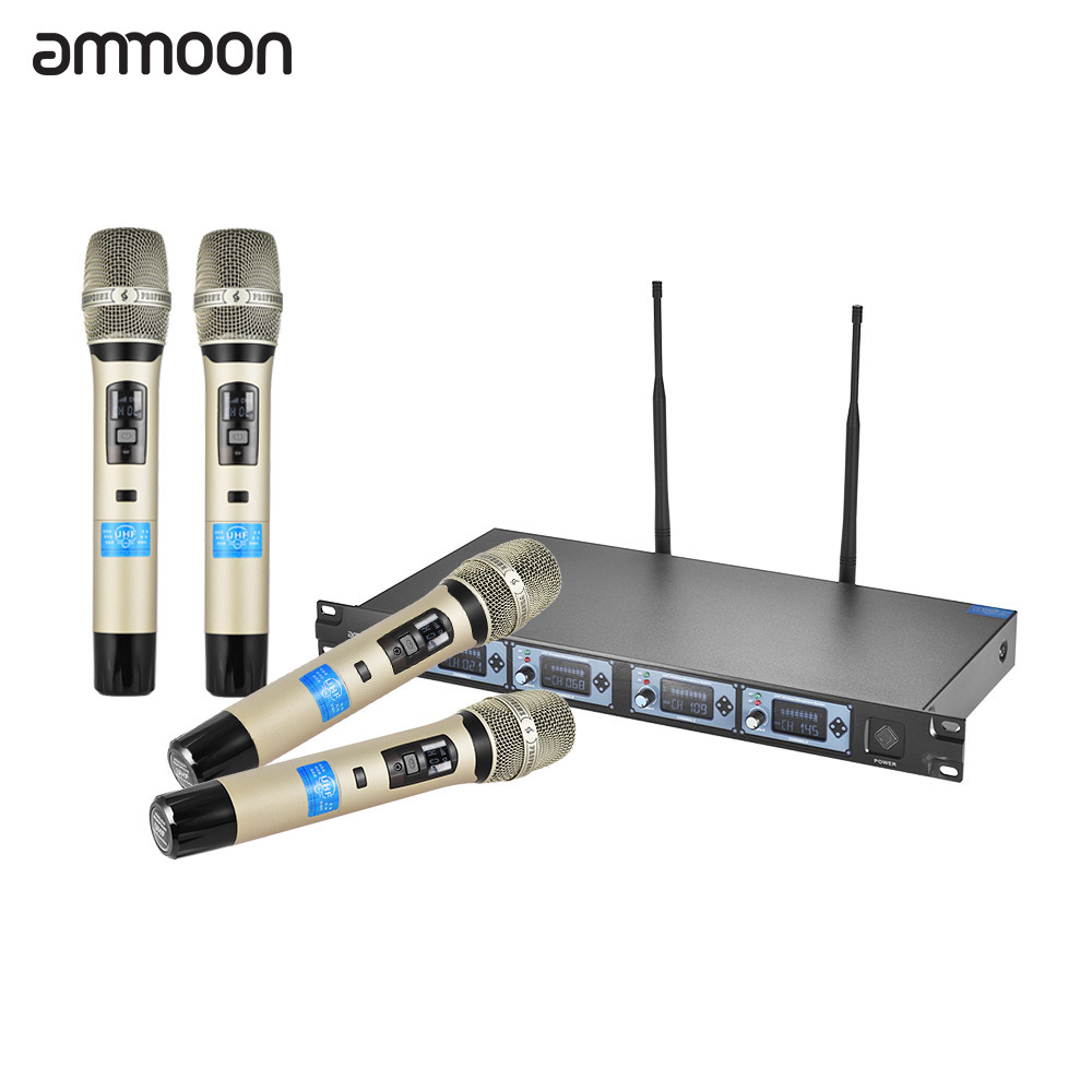 ammoon 4d b professional 4 channel uhf wireless handheld microphone system 4 microphones 1. Black Bedroom Furniture Sets. Home Design Ideas