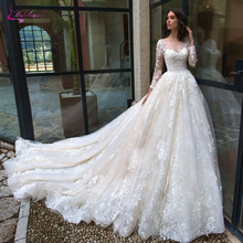 Waulizane Scalloped Neckline With Full Sleeve A Line Wedding Dresses Delicated Appliques and Chapel Train