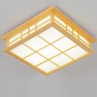 Estilo japonês moderno tatami delicado artesanato quadrado quadro de madeira conduziu a luz teto luminarias parágrafo sala para sala estar iluminação