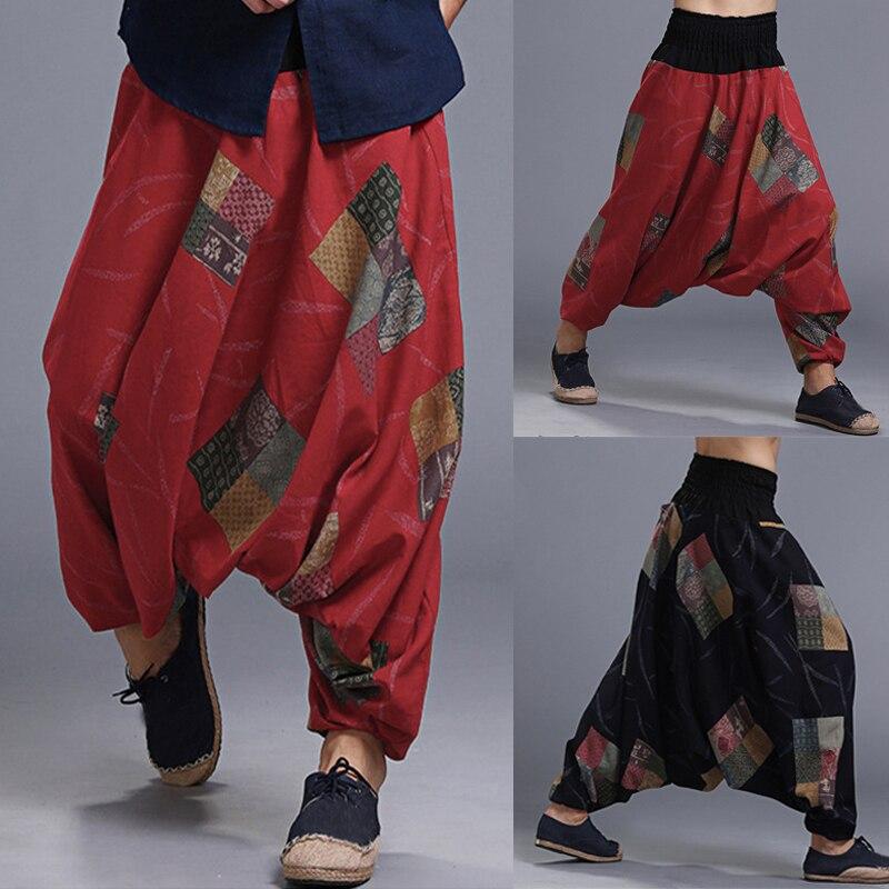 Men Harem Trousers Boho Baggy Pants Wide Legs Cross-pants Floral Big Crotch Elastic Waist Loose Joggers HipHop Plus Size S-5XL