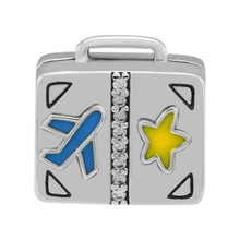 CKK Beads Suitcase Charm Original 925 Sterling Silver Fits Pandora Charms Bracelet Europe Fashion Beads for Jewelry Making C047 недорого