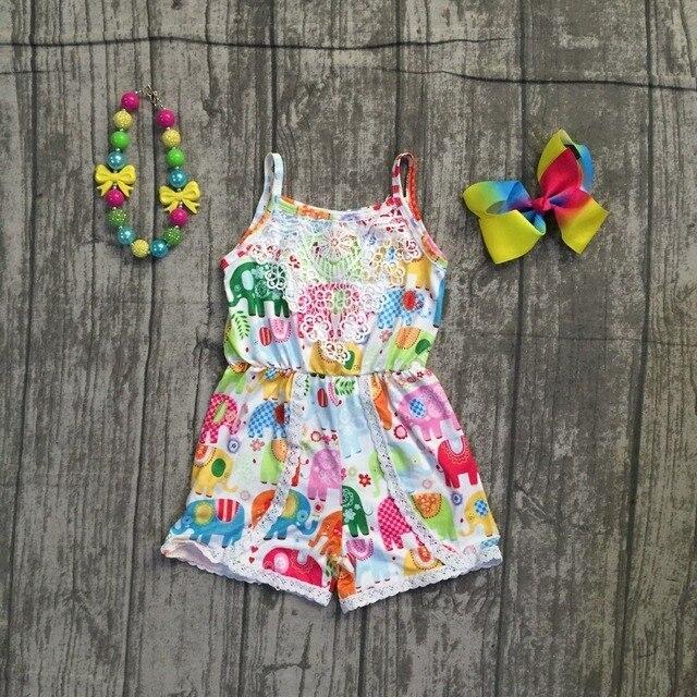Ropa de niñas leche seda halter elefante volante verano encaje algodón bebé niños ropa de una sola pieza traje ropa combina con accesorios