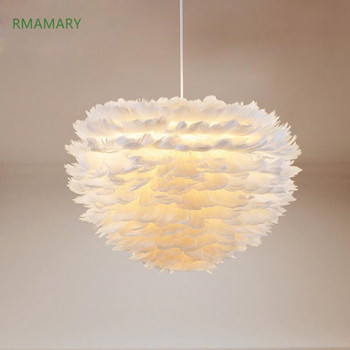 Princess room romantic chandelier modern minimalist creative children's room living room lamp LED feather chandelier lighting