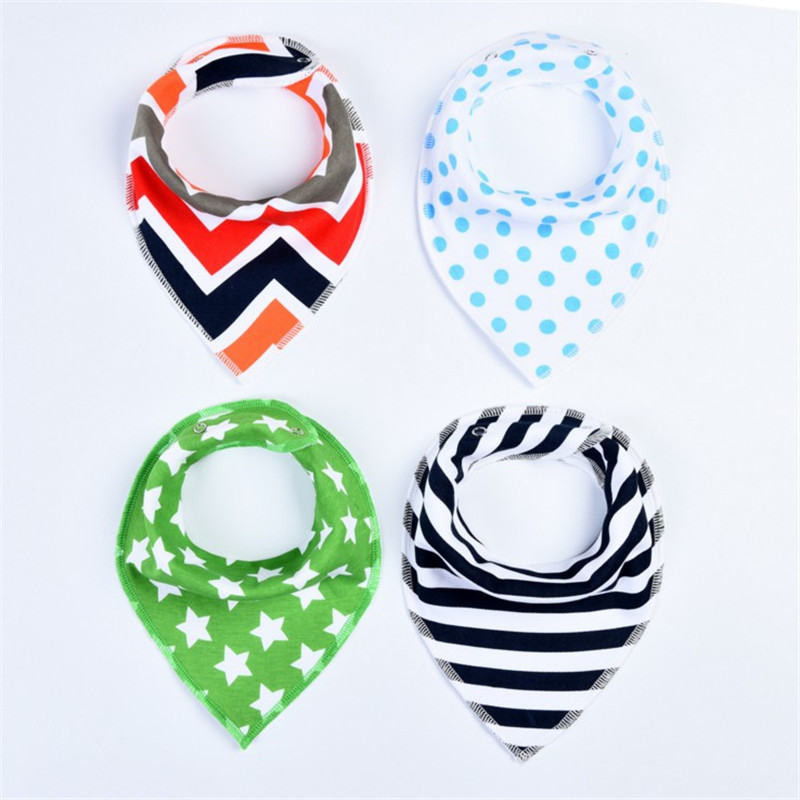 4Pcs/Lot Baby Bibs Different Styles Cotton Soft Kids Toddler Triangle Scarf Bib Cool Accessories Infant Saliva Towel 8