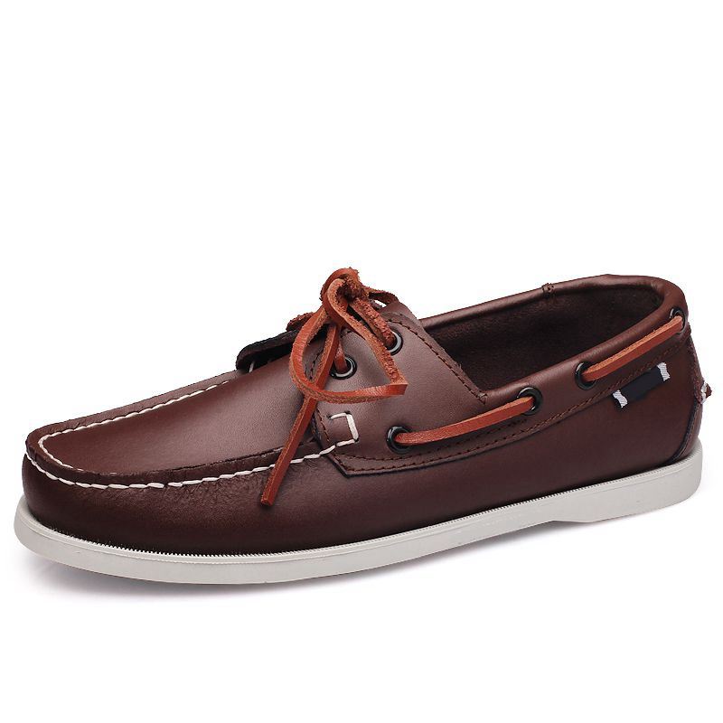 Brand Genuine Leather Men Shoes Boat Shoes Men Moccasins Business Slip On Mens Loafers Design Hand Sewing Casual Driving Shoes in Men 39 s Casual Shoes from Shoes