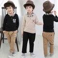2015 varejo novo outono / inverno 3-7a meninos roupas 2 pcs conjunto de roupas de treino para meninos com laço + calça casual roupa das crianças
