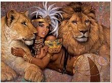 5d mosaik diamant malerei bilder von diamanten malerei durch zahlen Diamant mosaik Schönheit und die Lion Diamant stickerei tiger