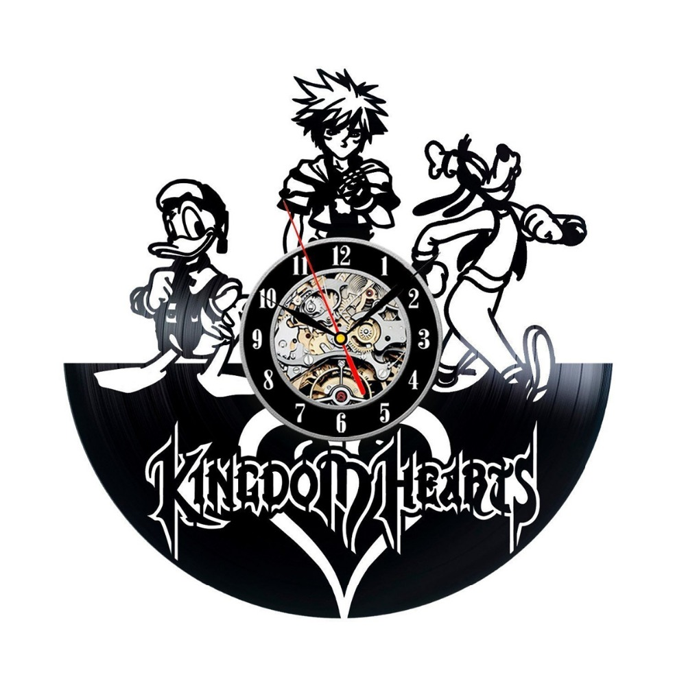 Kingdom Hearts Anime Vinyl Record Design Wall Clock – Decorate your home with Modern Kingdom Hearts Story Characters Art – Best