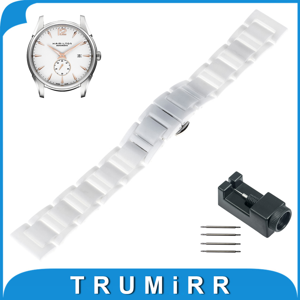 18mm 20mm Full Ceramic Watch Band for Hamilton Watchband Wrist Strap Replacement Link Bracelet Upgraded Tool