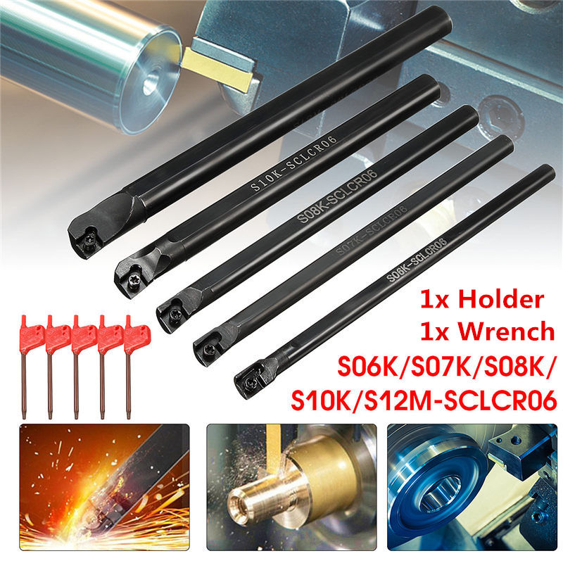 1Set S06K/S07K/S08K/S10K/S12M-SCLCR06 Lathe Turning Tool Holder Boring Bar For CCMT solid carbide c12q sclcr09 180mm hot sale sclcr lathe turning holder boring bar insert for semi finishing