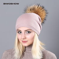 AIWOSHOW Raccoon Wool Fur Pom Poms Hat Female Women Warm Knitted Casual Vogue Winter Hats Skullies