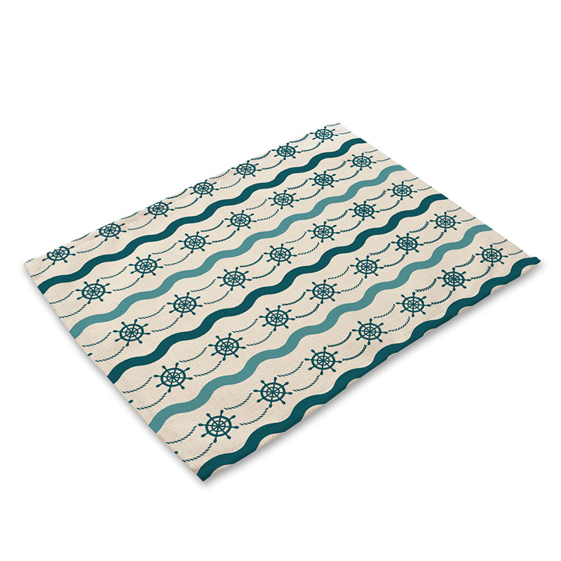 Anchor Placemat Blue Waves Nautical