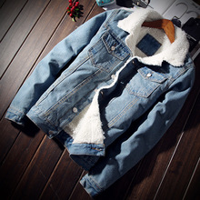 British Winter Fashion Men Jacket Fax Cashmere Thick Warm Parka Velvet Bomber Jackets Big Size S-6XL Classical Denim