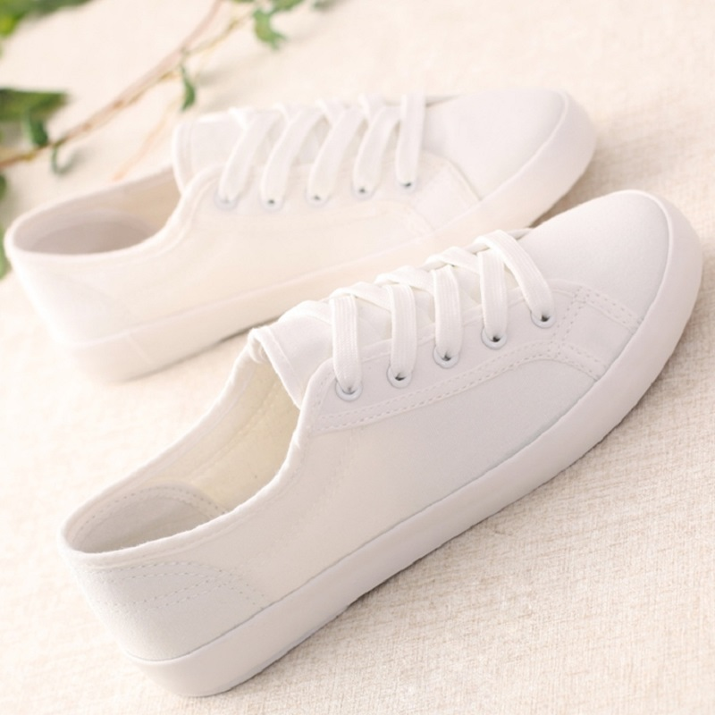 Classic Women Sneakers Casual Shoes White Solid Ladies Canvas Shoes Female Flat Trainers Fashion Basket Femme Size 35-44 fashion boutique huanqiu fashion women canvas shoes low breathable women sneakers solid color flat shoes casual candy colors l
