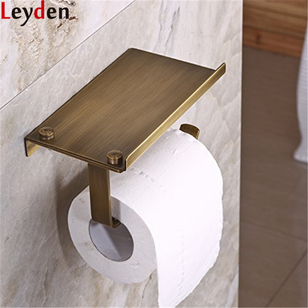 Leyden Antique Brass Wall Mounted Toilet Paper Holder Tissue Holder Roll Paper Holder Bathroom Accessories Phone Holder 2016 newest verto toilet paper holder bathroom abs surface double tissue accessories quality wc soap holder can hold phone z3