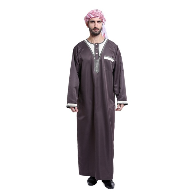 5 Homens de Cor Estilo Arábia Thoub Árabe Kaftan Abaya Robe Islâmico Dishdasha Daffah Thobe Novo Vestuário Muçulmano Para Homens S4