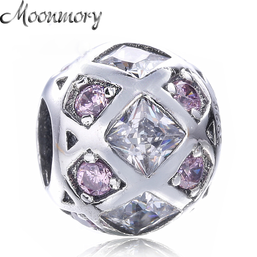 Moonmory Round Shape S925 Sterling Silver charm With Clear and Pink Zircon Accessary Fit Pandora Bracelet DIY Round Silver Beads